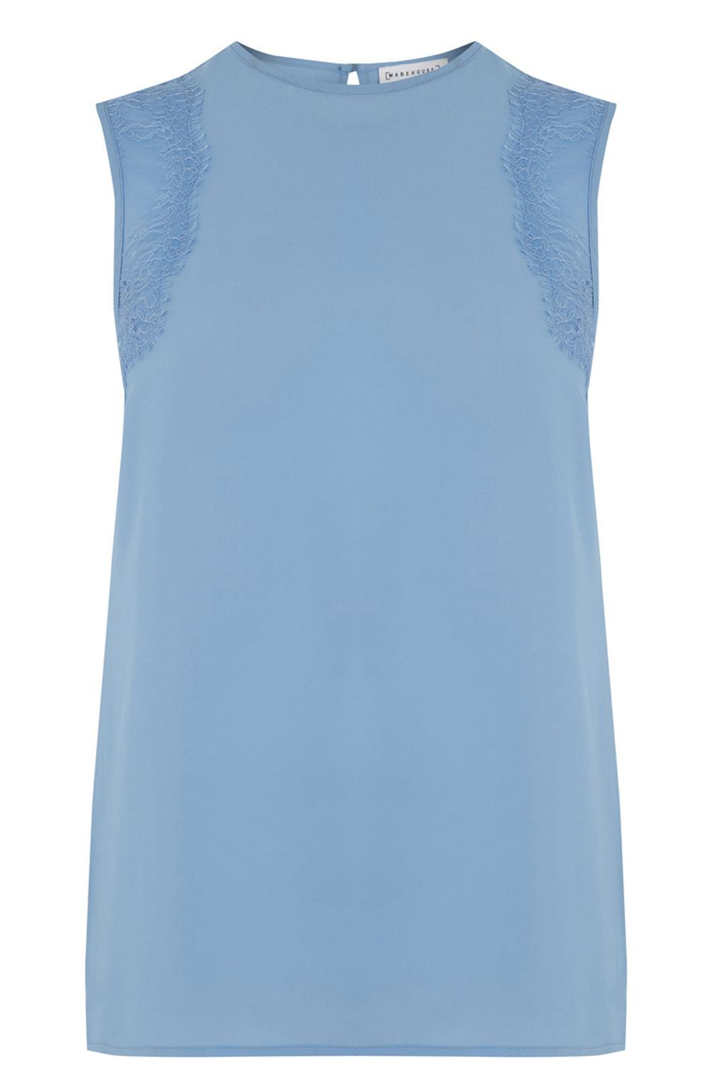Sleeveless Lace Detail Top, Light Blue - pattern: plain; sleeve style: sleeveless; predominant colour: pale blue; length: standard; style: top; fibres: polyester/polyamide - 100%; fit: straight cut; neckline: crew; sleeve length: sleeveless; texture group: crepes; pattern type: fabric; embellishment: lace; occasions: creative work; season: a/w 2016; wardrobe: highlight