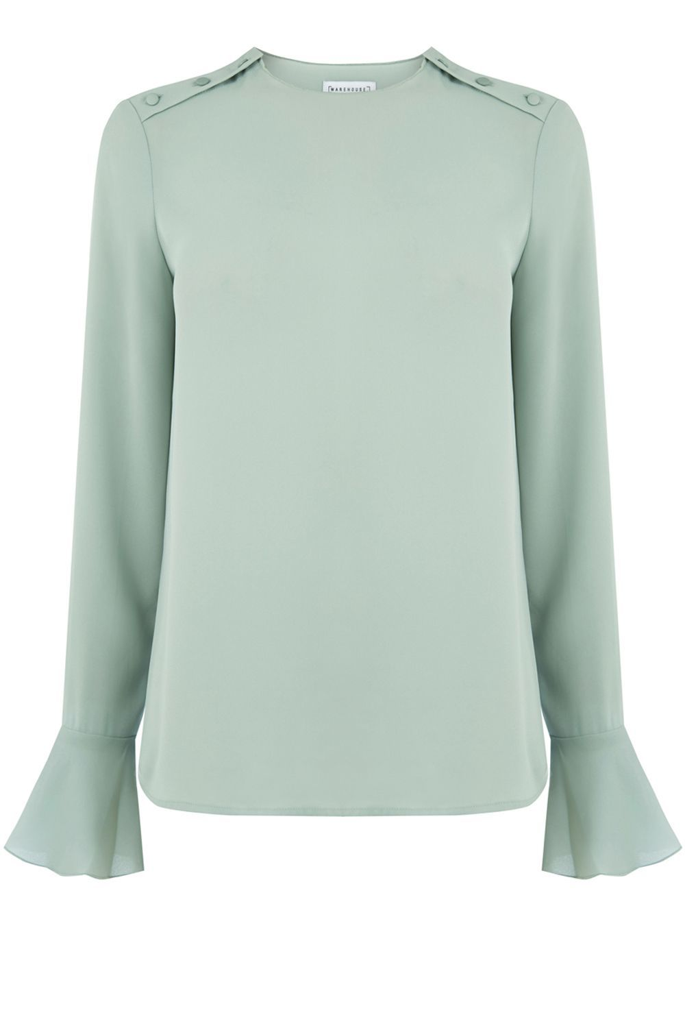 Button Shoulder Top, Mint - pattern: plain; style: blouse; sleeve style: volant; predominant colour: pistachio; occasions: casual, creative work; length: standard; fibres: polyester/polyamide - 100%; fit: straight cut; neckline: crew; sleeve length: long sleeve; texture group: crepes; pattern type: fabric; season: a/w 2016; wardrobe: highlight; trends: statement sleeves