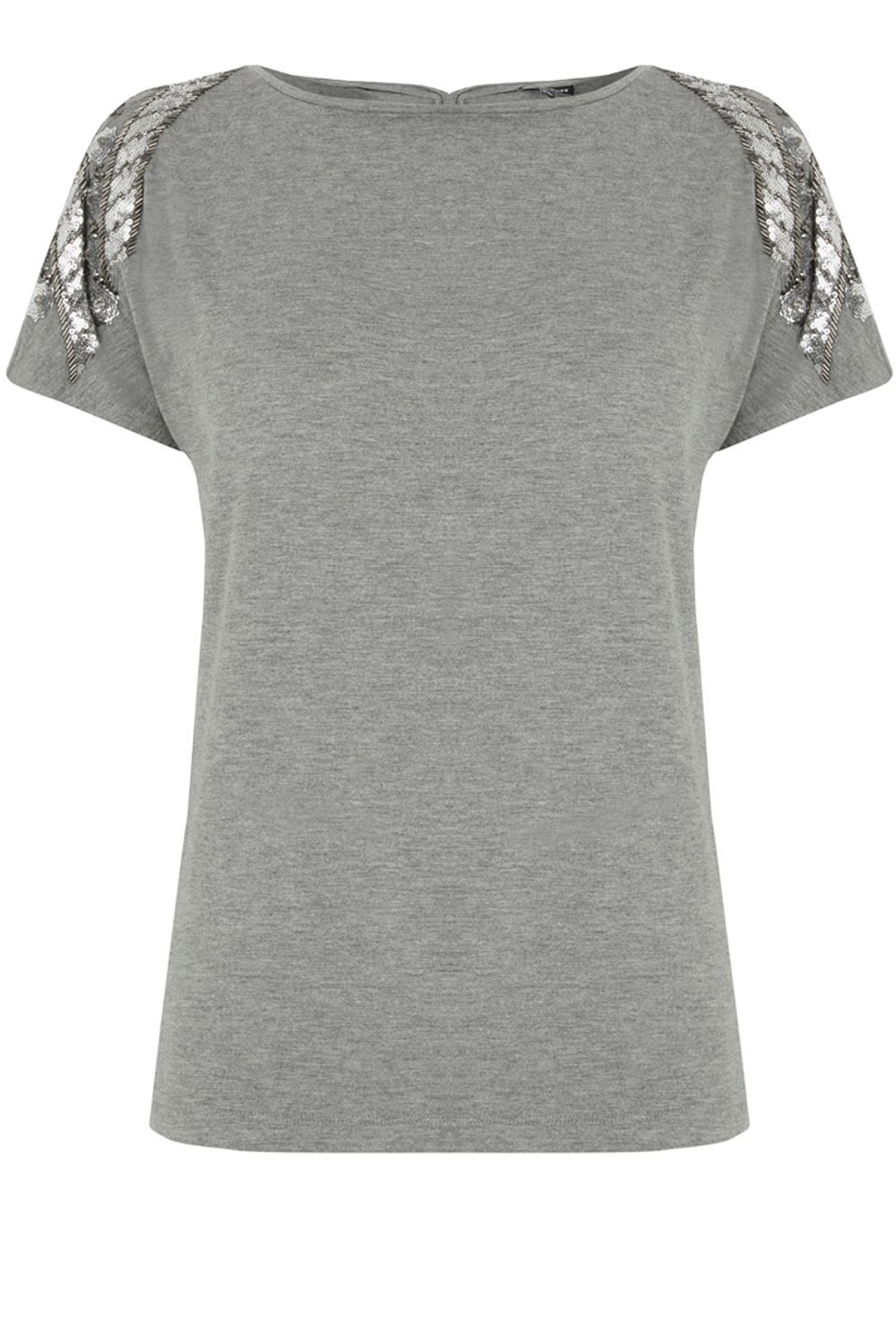 Floral Chevron Embellished Tee, Light Grey - neckline: slash/boat neckline; pattern: plain; style: t-shirt; predominant colour: charcoal; occasions: casual, creative work; length: standard; fibres: polyester/polyamide - stretch; fit: body skimming; sleeve length: short sleeve; sleeve style: standard; texture group: jersey - clingy; pattern type: fabric; season: a/w 2016; wardrobe: highlight; embellishment location: shoulder