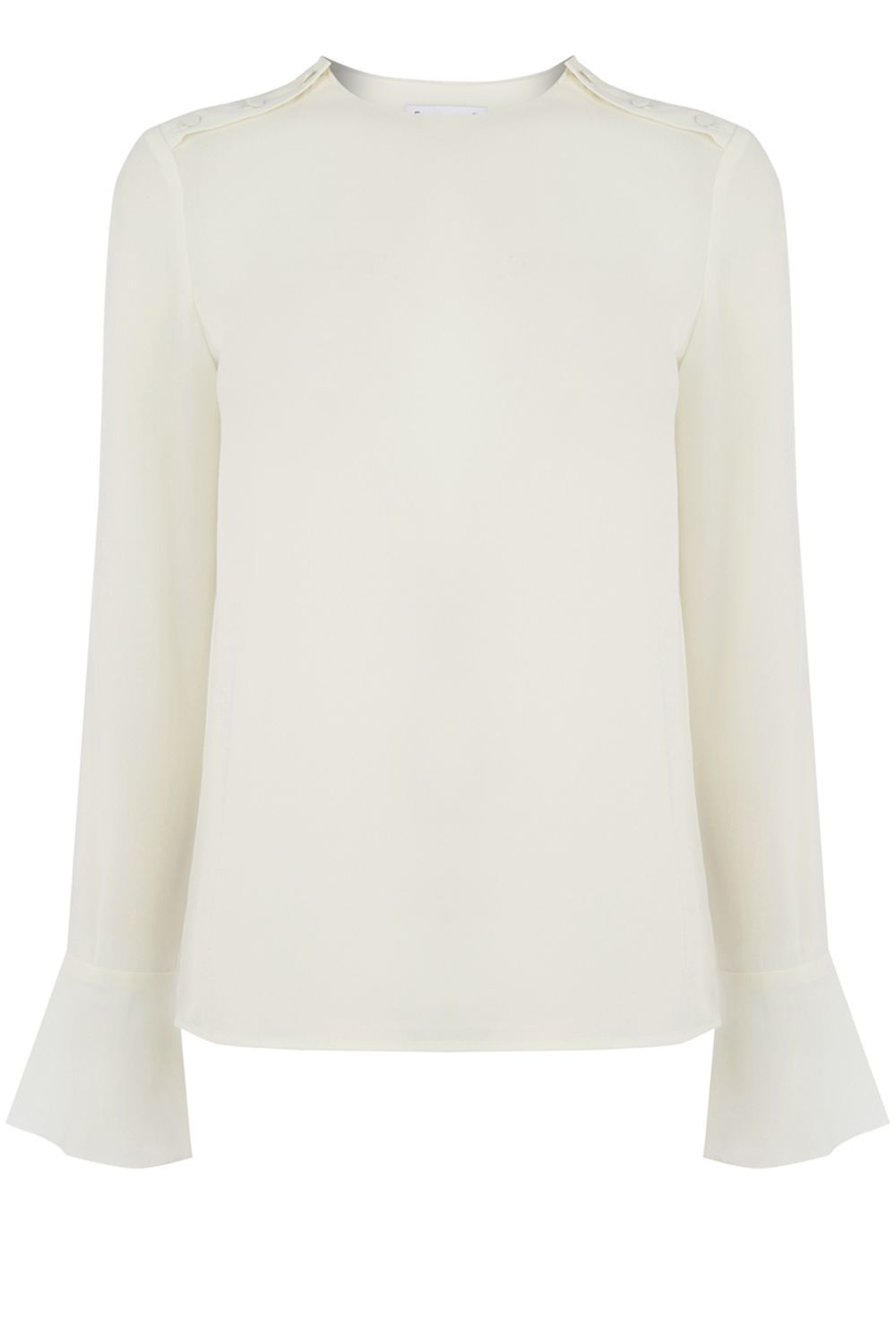 Button Shoulder Top, Cream - sleeve style: bell sleeve; pattern: plain; style: blouse; predominant colour: ivory/cream; occasions: evening, work, creative work; length: standard; fibres: polyester/polyamide - 100%; fit: body skimming; neckline: crew; sleeve length: long sleeve; texture group: crepes; pattern type: fabric; wardrobe: basic; season: a/w 2016