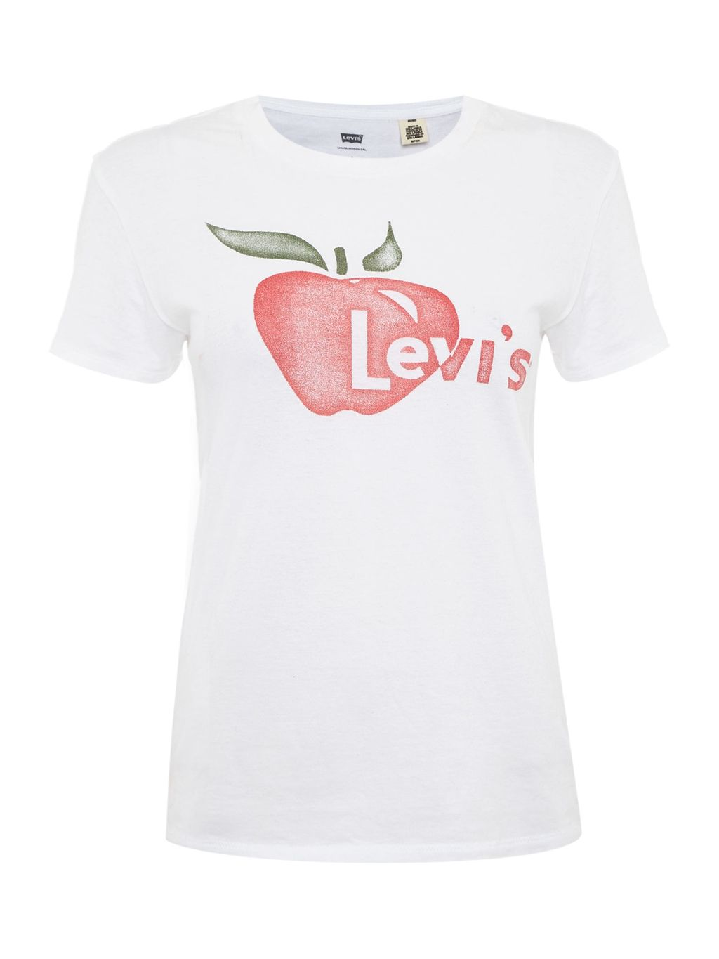 Short Sleeve Vintage Logo Tee In Apple White, White - style: t-shirt; predominant colour: white; secondary colour: true red; occasions: casual; length: standard; fibres: cotton - 100%; fit: body skimming; neckline: crew; sleeve length: short sleeve; sleeve style: standard; pattern type: fabric; texture group: jersey - stretchy/drapey; pattern: graphic/slogan; multicoloured: multicoloured; season: a/w 2016; wardrobe: highlight