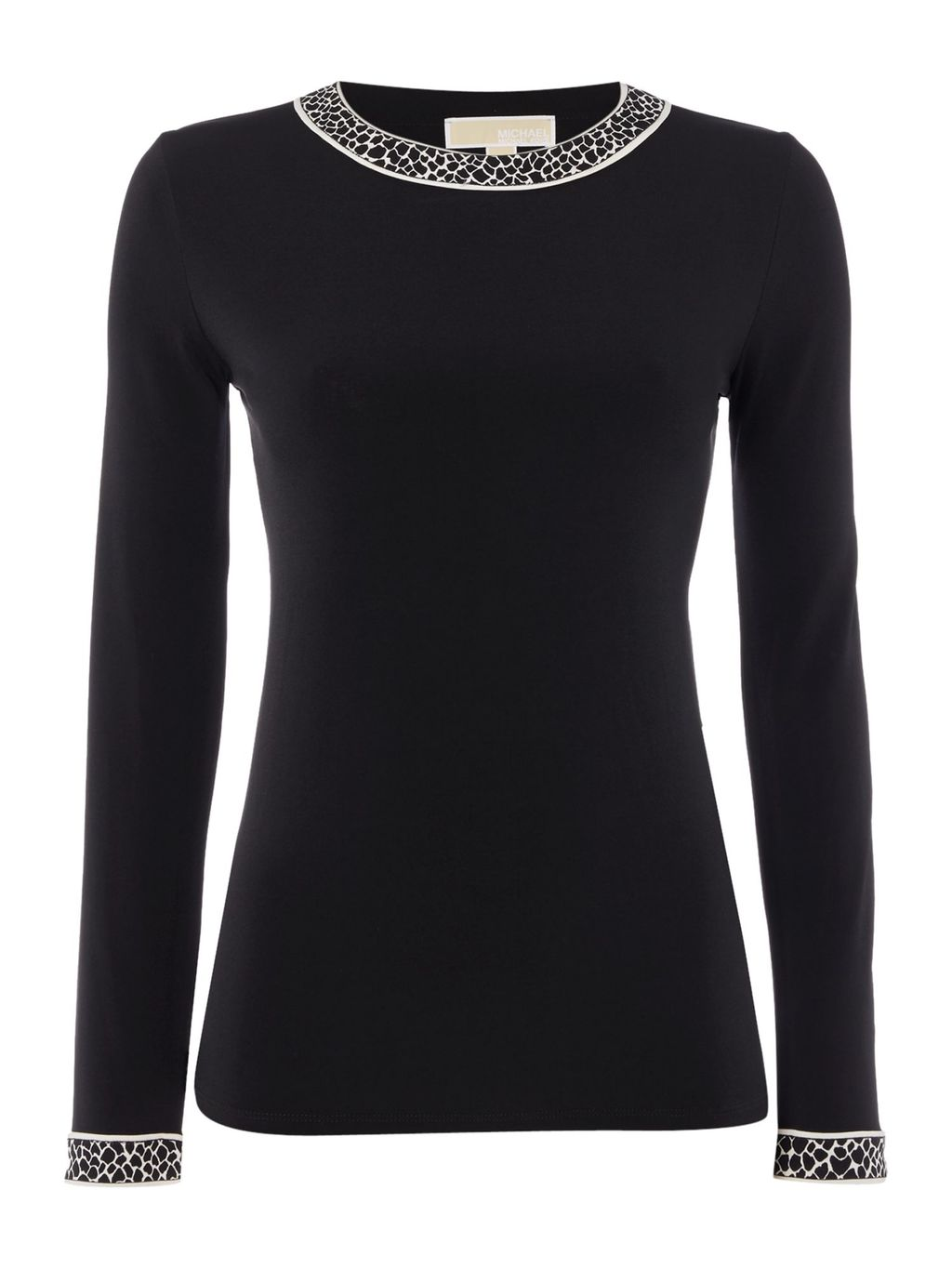 Long Sleeve Crewneck Top, Black - pattern: plain; bust detail: ruching/gathering/draping/layers/pintuck pleats at bust; occasions: casual; length: standard; style: top; fibres: polyester/polyamide - stretch; fit: body skimming; neckline: crew; sleeve length: long sleeve; sleeve style: standard; texture group: jersey - clingy; pattern type: fabric; predominant colour: dusky pink; embellishment: jewels/stone; season: a/w 2016; wardrobe: highlight
