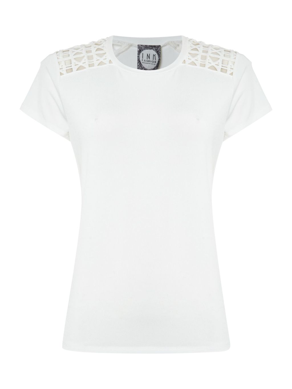 Aggie Cut Out Shoulder Top, White - pattern: plain; predominant colour: white; occasions: casual; length: standard; style: top; fibres: polyester/polyamide - stretch; fit: body skimming; neckline: crew; sleeve length: short sleeve; sleeve style: standard; pattern type: fabric; texture group: jersey - stretchy/drapey; wardrobe: basic; season: a/w 2016