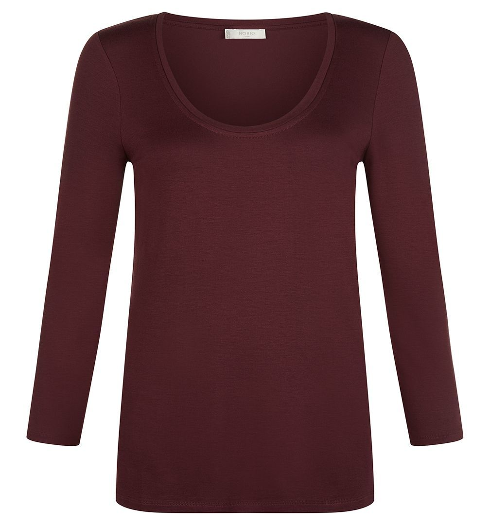 Olivia Tee, Purple - neckline: round neck; pattern: plain; style: t-shirt; predominant colour: purple; occasions: casual, work, creative work; length: standard; fibres: viscose/rayon - stretch; fit: body skimming; sleeve length: 3/4 length; sleeve style: standard; pattern type: fabric; texture group: jersey - stretchy/drapey; season: a/w 2016; wardrobe: highlight