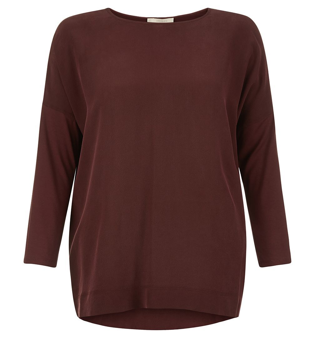 Callaghan Top, Red - neckline: round neck; pattern: plain; length: below the bottom; predominant colour: burgundy; occasions: casual, work, creative work; style: top; fibres: silk - mix; fit: loose; sleeve length: 3/4 length; sleeve style: standard; pattern type: fabric; texture group: jersey - stretchy/drapey; season: a/w 2016; wardrobe: highlight