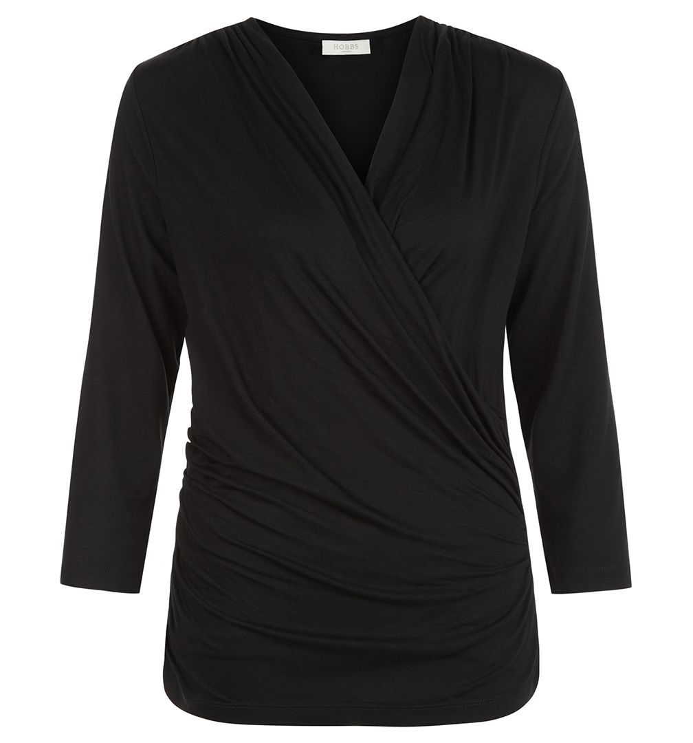 Madina Top, Black - neckline: v-neck; pattern: plain; style: wrap/faux wrap; waist detail: flattering waist detail; bust detail: subtle bust detail; predominant colour: black; occasions: casual, creative work; length: standard; fibres: polyester/polyamide - stretch; fit: body skimming; sleeve length: 3/4 length; sleeve style: standard; texture group: jersey - clingy; pattern type: fabric; wardrobe: basic; season: a/w 2016