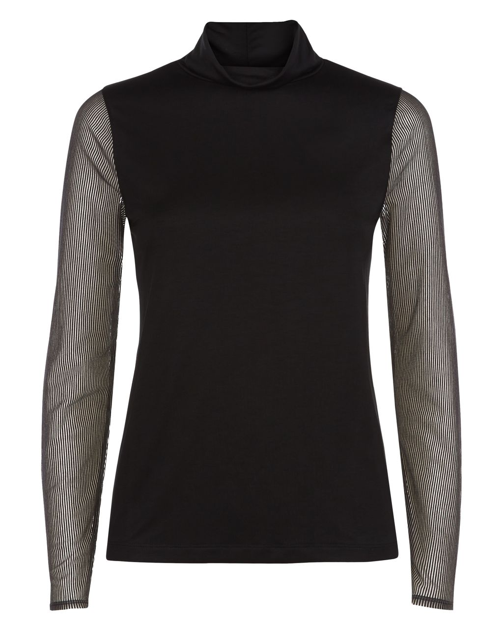 Sheer Striped Sleeved Top, Black - pattern: plain; neckline: roll neck; predominant colour: black; occasions: casual, creative work; length: standard; style: top; fibres: cotton - mix; fit: body skimming; sleeve length: long sleeve; sleeve style: standard; texture group: sheer fabrics/chiffon/organza etc.; pattern type: fabric; wardrobe: basic; season: a/w 2016