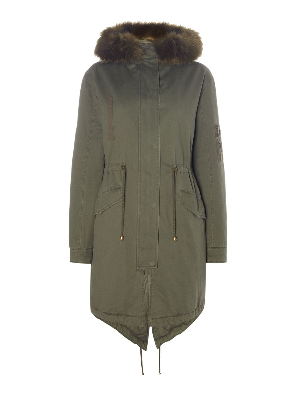 Casual Faux Fur Parka, Khaki - pattern: plain; collar: funnel; fit: loose; style: parka; back detail: hood; length: mid thigh; predominant colour: khaki; occasions: casual; fibres: cotton - 100%; waist detail: belted waist/tie at waist/drawstring; sleeve length: long sleeve; sleeve style: standard; texture group: technical outdoor fabrics; collar break: high; pattern type: fabric; embellishment: fur; season: a/w 2016; wardrobe: highlight