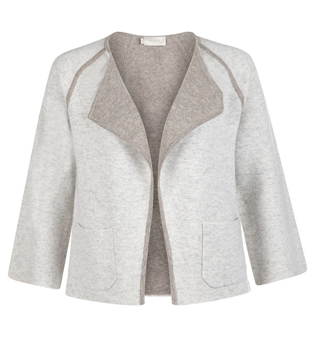 Libby Jacket, Grey - pattern: plain; style: single breasted blazer; collar: standard lapel/rever collar; secondary colour: taupe; predominant colour: stone; occasions: casual; length: standard; fit: straight cut (boxy); fibres: cotton - mix; sleeve length: 3/4 length; sleeve style: standard; collar break: medium; pattern type: fabric; texture group: tweed - light/midweight; season: a/w 2016; wardrobe: highlight