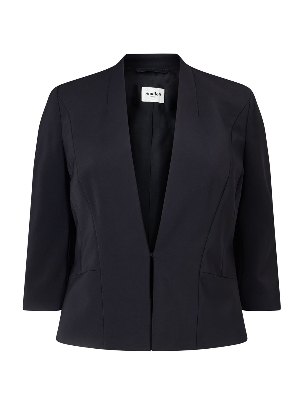 Celia Jacket, Black - pattern: plain; style: single breasted blazer; collar: round collar/collarless; predominant colour: black; occasions: work; length: standard; fit: tailored/fitted; fibres: polyester/polyamide - stretch; sleeve length: 3/4 length; sleeve style: standard; texture group: crepes; collar break: low/open; pattern type: fabric; wardrobe: investment; season: a/w 2016