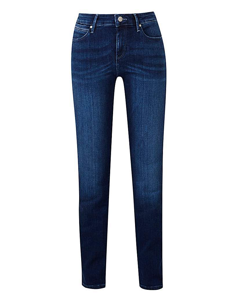 Drew Straight Leg Jean L32 - style: straight leg; length: standard; pattern: plain; waist: high rise; pocket detail: traditional 5 pocket; predominant colour: navy; occasions: casual, creative work; fibres: cotton - stretch; jeans detail: dark wash; texture group: denim; pattern type: fabric; wardrobe: basic; season: a/w 2016