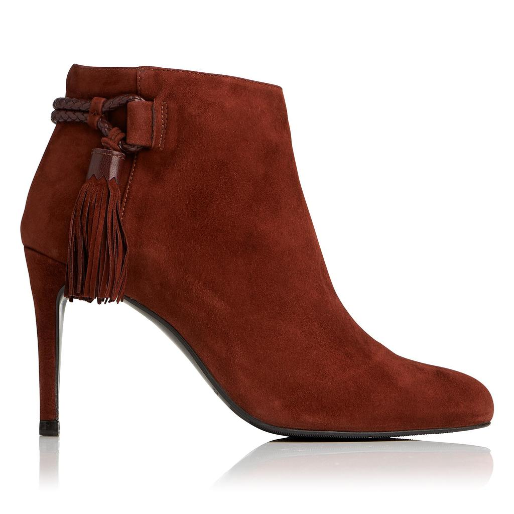 Chrissy Chestnut Suede Ankle Boots Brown Chestnut - predominant colour: chocolate brown; occasions: casual, creative work; material: suede; heel height: high; heel: stiletto; toe: round toe; boot length: ankle boot; style: standard; finish: plain; pattern: plain; season: a/w 2016; wardrobe: highlight