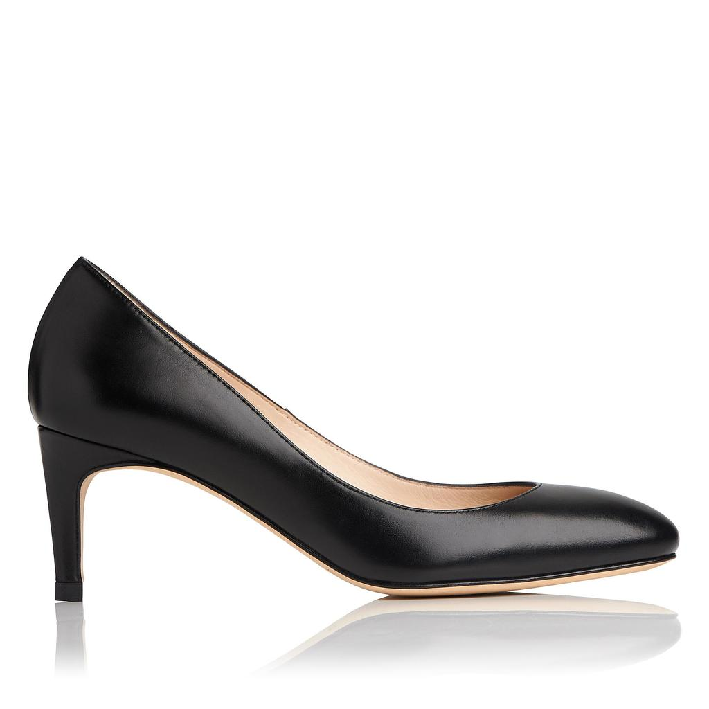 Sash Black Calf Leather Courts - predominant colour: black; occasions: evening, work; material: leather; heel height: high; heel: stiletto; toe: pointed toe; style: courts; finish: plain; pattern: plain; wardrobe: investment; season: a/w 2016