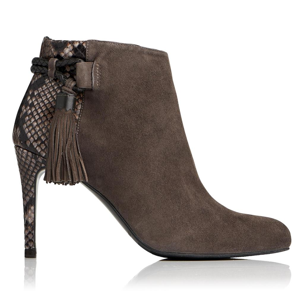 Chrissy Charcoal Suede Ankle Boots - predominant colour: charcoal; occasions: casual, creative work; material: suede; heel height: high; heel: stiletto; toe: round toe; boot length: ankle boot; style: standard; finish: plain; pattern: plain; season: a/w 2016; wardrobe: highlight