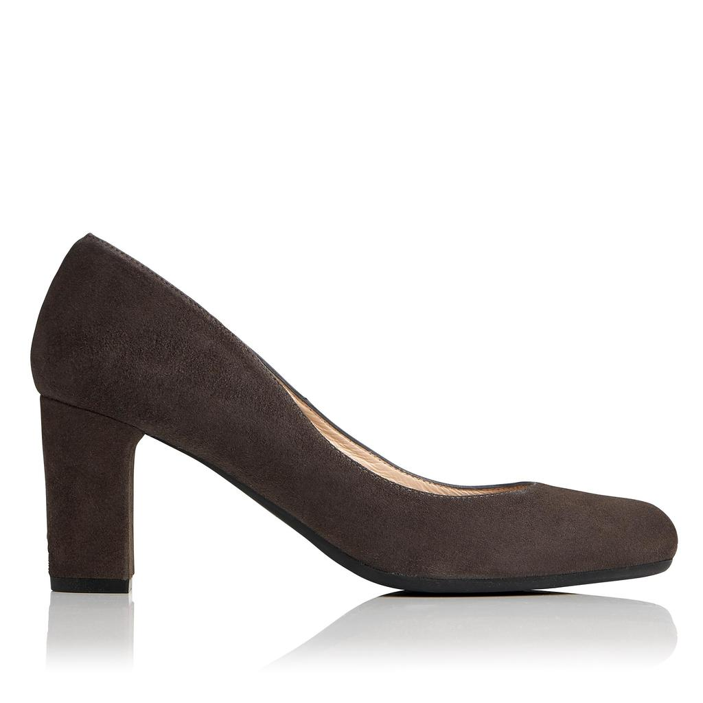 Sersha Charcoal Suede Courts Grey Charcoal - predominant colour: charcoal; occasions: evening, work; material: leather; heel height: high; heel: block; toe: round toe; style: courts; finish: plain; pattern: plain; season: a/w 2016