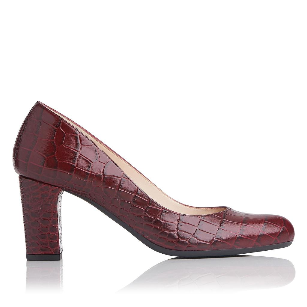 Sersha Truffle Croc Effect Courts Red Truffle - predominant colour: burgundy; occasions: evening, work; material: leather; heel height: high; heel: block; toe: round toe; style: courts; finish: plain; pattern: plain; season: a/w 2016; wardrobe: highlight