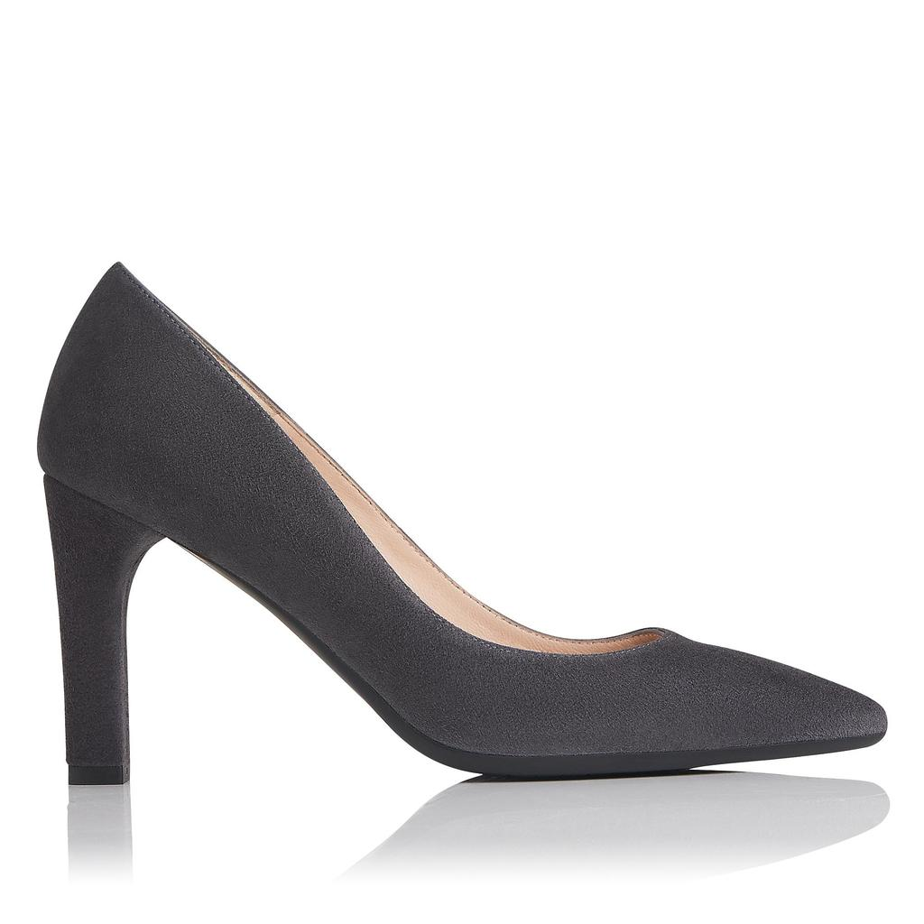 Tess Smoke Suede Courts Grey Smoke - predominant colour: charcoal; occasions: evening; material: suede; heel height: high; heel: block; toe: pointed toe; style: courts; finish: plain; pattern: plain; season: a/w 2016