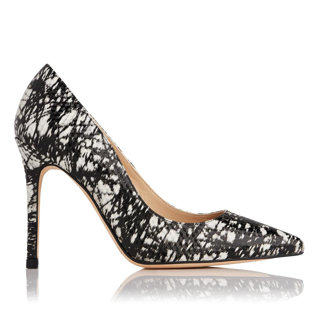 Fern Monochrome Printed Courts Print Black White - secondary colour: white; predominant colour: black; occasions: evening, occasion; material: leather; heel height: high; heel: stiletto; toe: pointed toe; style: courts; finish: plain; pattern: patterned/print; season: a/w 2016; wardrobe: event