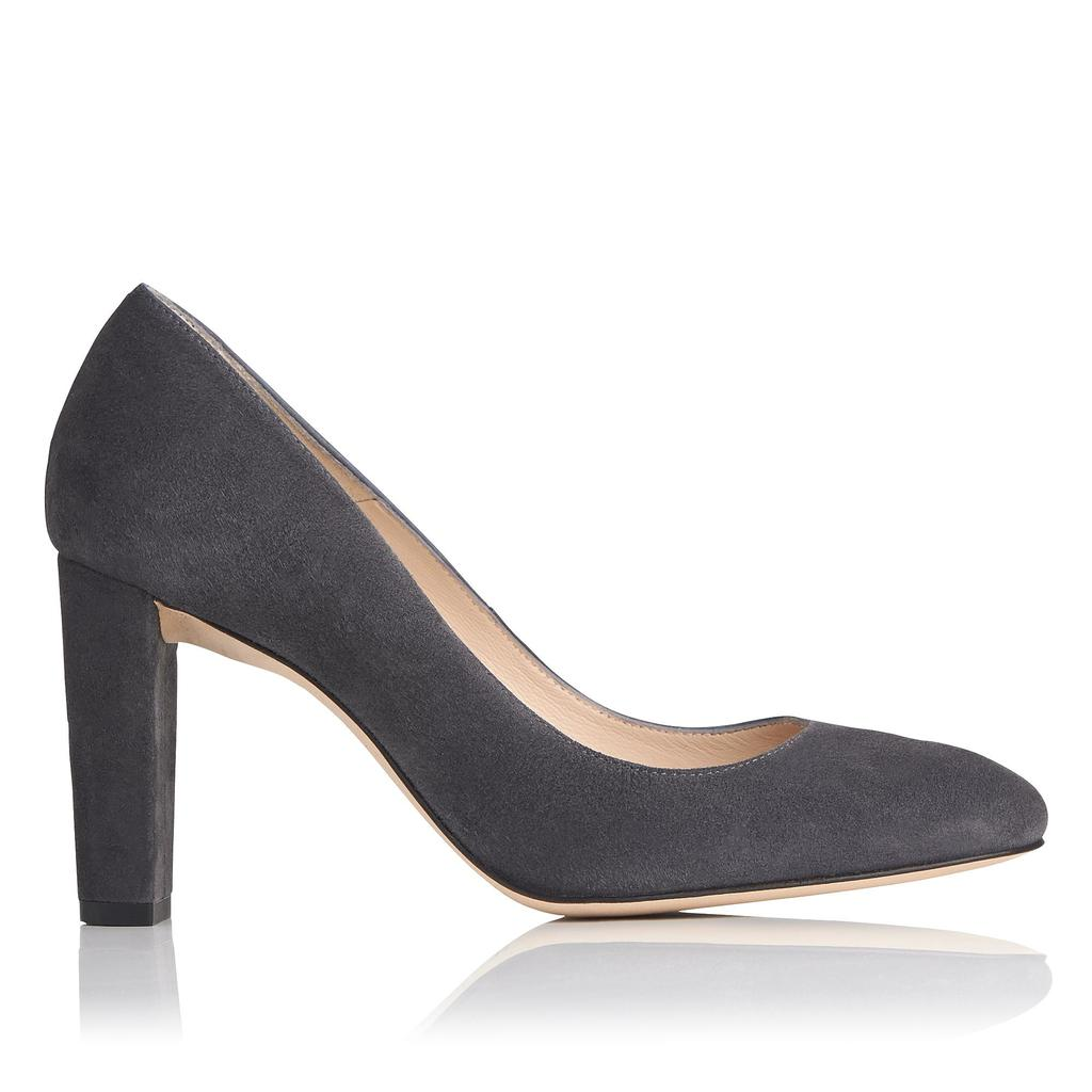 Marcella Smoke Suede Courts Grey Smoke - predominant colour: charcoal; occasions: work; material: suede; heel height: high; heel: block; toe: round toe; style: courts; finish: plain; pattern: plain; season: a/w 2016