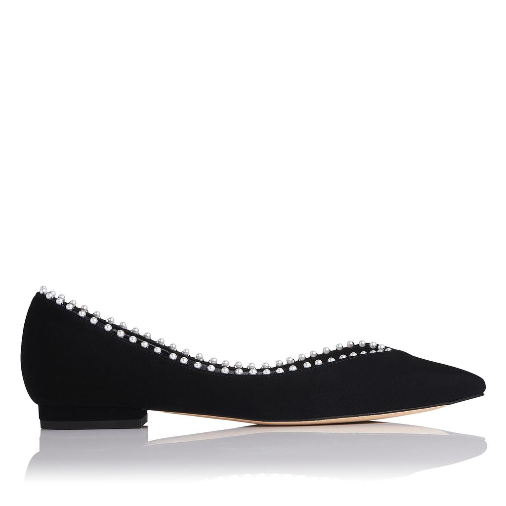 Florence Pearl Suede Flats Black Pearl - secondary colour: ivory/cream; predominant colour: black; occasions: casual, creative work; material: suede; heel height: flat; embellishment: pearls; toe: pointed toe; style: ballerinas / pumps; trends: monochrome; finish: plain; pattern: plain; wardrobe: basic; season: a/w 2016