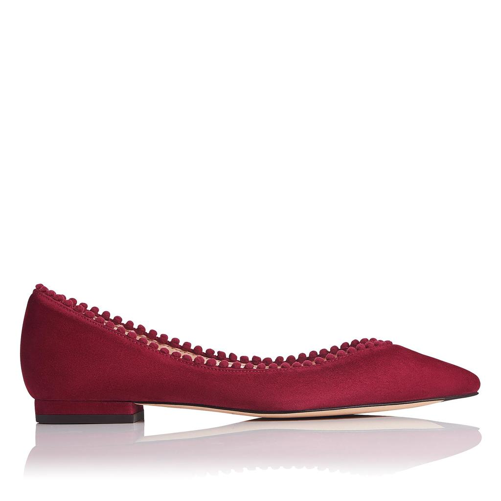 Florence Raspberry Suede Flats Red Raspberry - occasions: casual, creative work; material: suede; heel height: flat; toe: pointed toe; style: ballerinas / pumps; finish: plain; pattern: plain; predominant colour: raspberry; season: a/w 2016; wardrobe: highlight