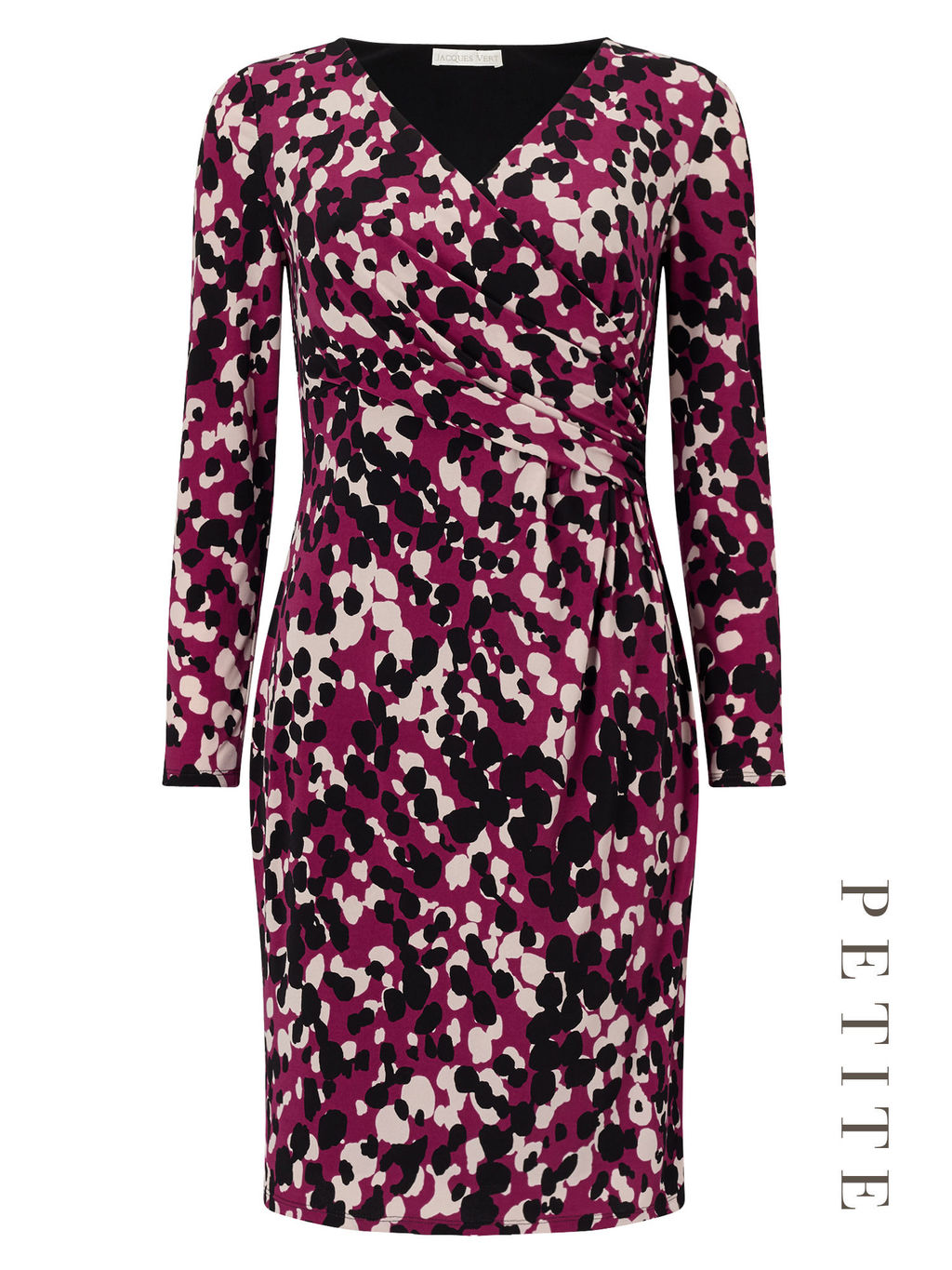Petite Jersey Print Dress - style: faux wrap/wrap; neckline: v-neck; secondary colour: white; predominant colour: magenta; occasions: evening; length: on the knee; fit: body skimming; fibres: polyester/polyamide - stretch; sleeve length: long sleeve; sleeve style: standard; pattern type: fabric; pattern: patterned/print; texture group: jersey - stretchy/drapey; multicoloured: multicoloured; season: a/w 2016; wardrobe: event