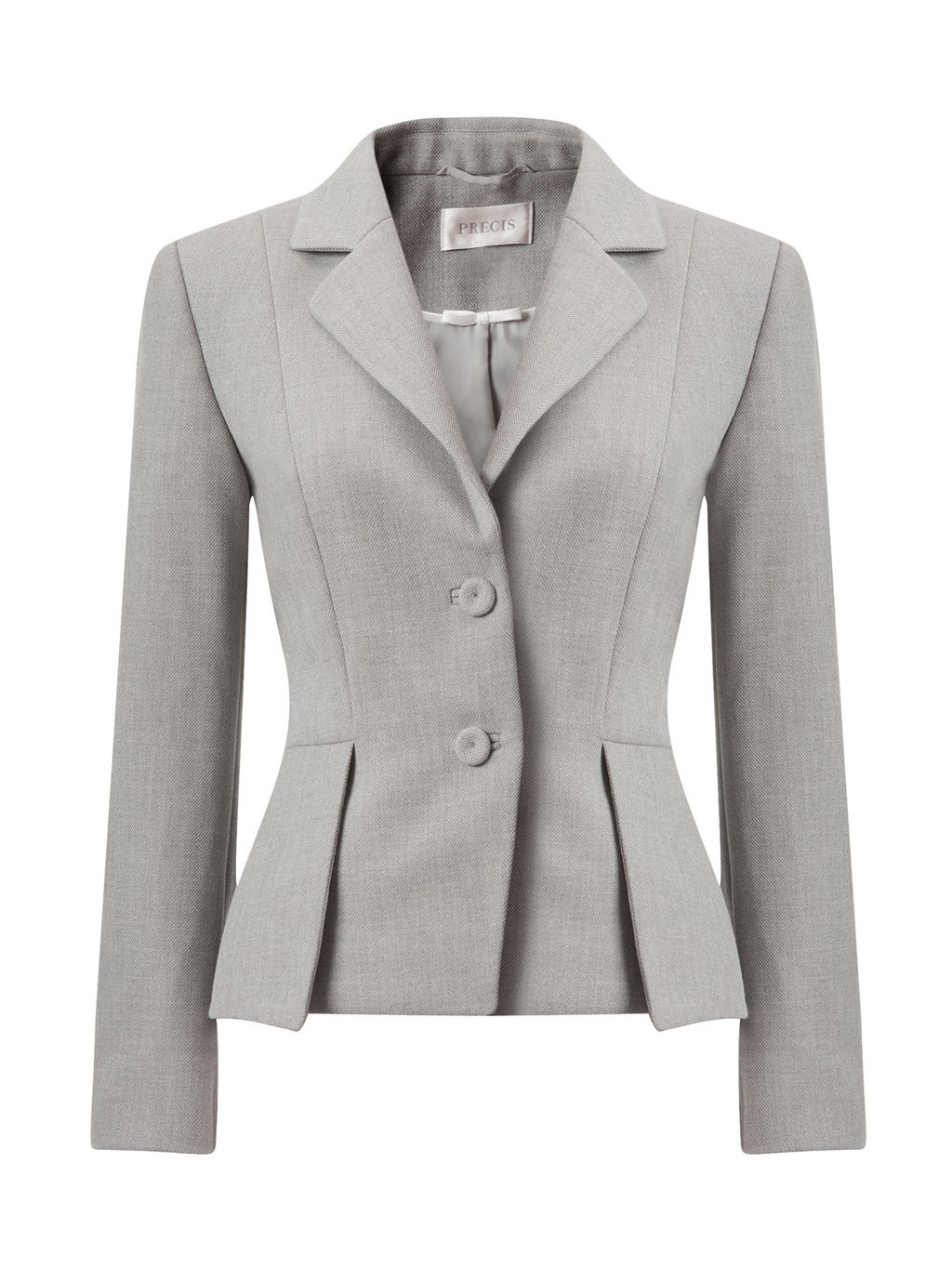 Petite Peplum Tailored Jacket - pattern: plain; style: single breasted blazer; collar: standard lapel/rever collar; predominant colour: light grey; occasions: work, occasion; length: standard; fit: tailored/fitted; fibres: wool - mix; waist detail: peplum detail at waist; sleeve length: long sleeve; sleeve style: standard; collar break: medium; pattern type: fabric; texture group: woven light midweight; wardrobe: investment; season: a/w 2016