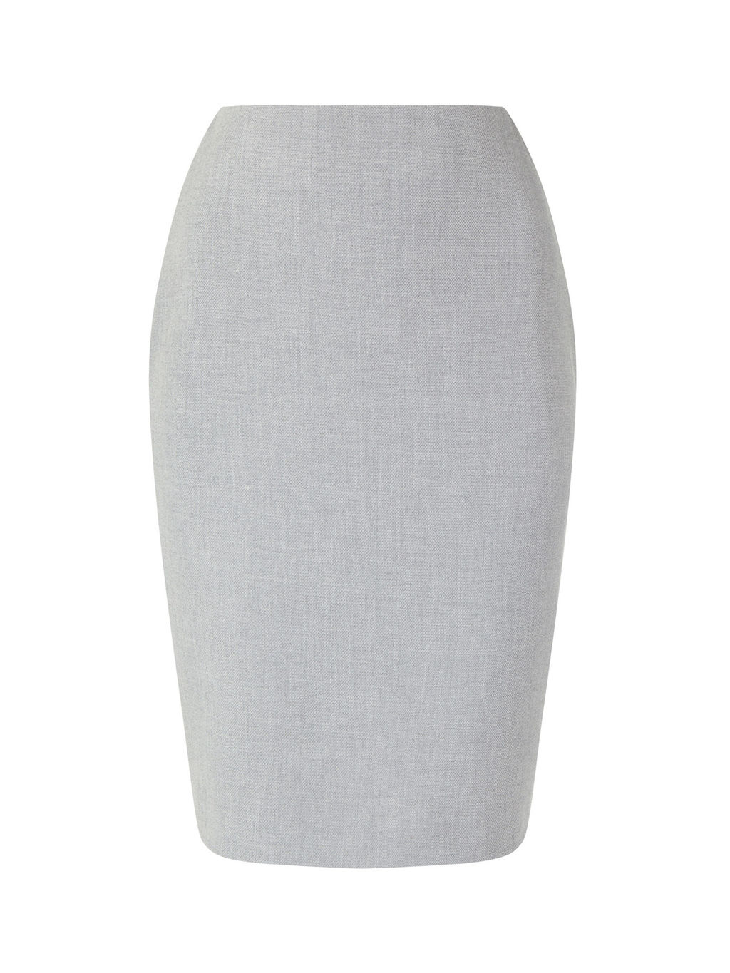 Eliza Tailored Pencil Skirt - style: pencil; fit: tailored/fitted; waist: high rise; predominant colour: light grey; occasions: work; length: on the knee; fibres: wool - mix; pattern type: fabric; texture group: woven light midweight; pattern: marl; pattern size: light/subtle (bottom); wardrobe: basic; season: a/w 2016