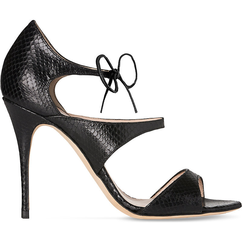 Karlie Snake Embossed Leather Sandals, Women's, Eur 37 / 4 Uk Women, Bla Black - predominant colour: black; occasions: evening; material: leather; ankle detail: ankle tie; heel: stiletto; toe: open toe/peeptoe; style: strappy; finish: plain; pattern: plain; heel height: very high; season: a/w 2016; wardrobe: event
