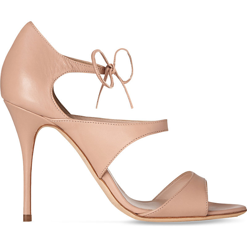 Karlie Strappy Leather Sandals - predominant colour: nude; occasions: evening, occasion; material: leather; ankle detail: ankle tie; heel: stiletto; toe: open toe/peeptoe; style: strappy; finish: plain; pattern: plain; heel height: very high; season: a/w 2016; wardrobe: event