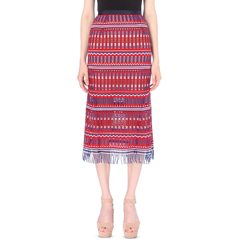 Bibi Guipure Lace Skirt, Women's, Garnet Raffia - length: below the knee; style: straight; waist: high rise; predominant colour: true red; secondary colour: royal blue; occasions: evening, occasion; fibres: silk - 100%; texture group: lace; fit: straight cut; pattern type: fabric; pattern: patterned/print; pattern size: standard (bottom); multicoloured: multicoloured; season: a/w 2016; wardrobe: event