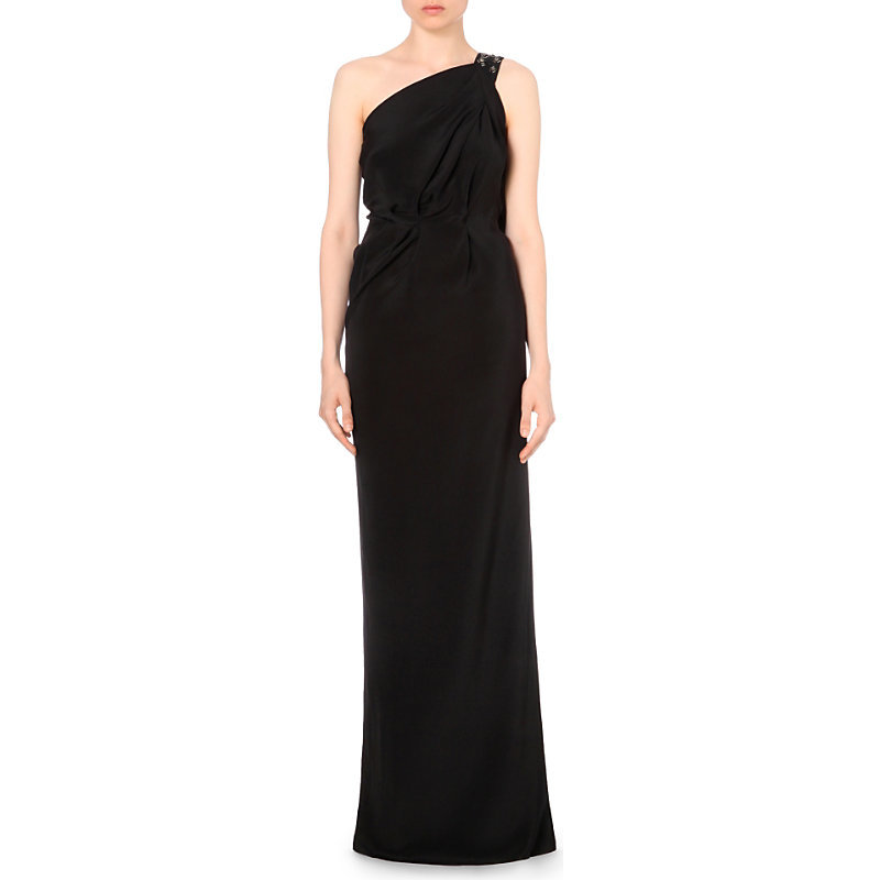 Vere One Shoulder Silk Gown, Women's, Black Multi - style: ballgown; pattern: plain; sleeve style: sleeveless; neckline: asymmetric; predominant colour: black; occasions: evening; length: floor length; fit: body skimming; fibres: silk - 100%; sleeve length: sleeveless; texture group: silky - light; pattern type: fabric; season: a/w 2016; wardrobe: event