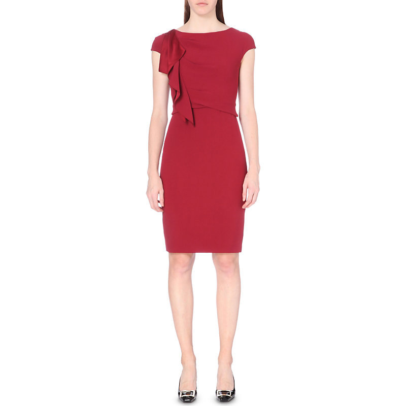 Ruffle Detail Crepe Dress, Women's, Red - style: shift; sleeve style: capped; fit: tailored/fitted; pattern: plain; predominant colour: burgundy; occasions: evening, occasion; length: just above the knee; neckline: crew; sleeve length: short sleeve; texture group: crepes; pattern type: fabric; fibres: viscose/rayon - mix; season: a/w 2016; wardrobe: event