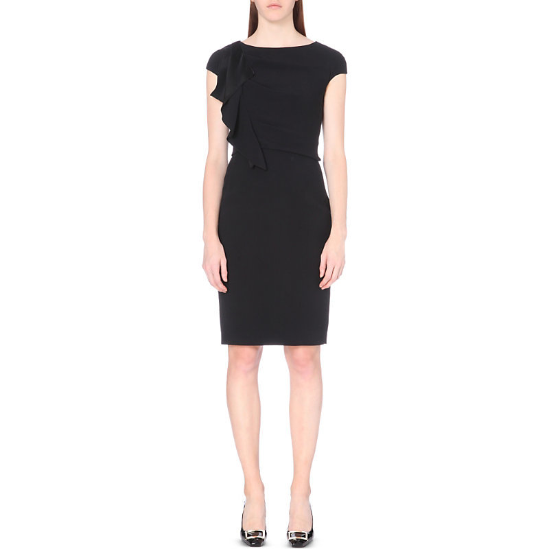Ruffle Detail Crepe Dress, Women's, Black - sleeve style: capped; fit: tight; pattern: plain; style: bodycon; hip detail: fitted at hip; predominant colour: black; occasions: evening; length: on the knee; neckline: crew; sleeve length: short sleeve; texture group: crepes; bust detail: tiers/frills/bulky drapes/pleats; pattern type: fabric; fibres: viscose/rayon - mix; season: a/w 2016