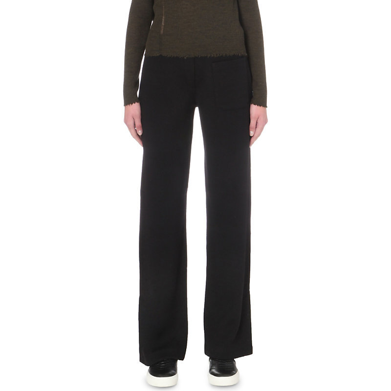 Straight Mid Rise Wool Trousers, Women's, Size: Large, Black - length: standard; pattern: plain; waist: mid/regular rise; predominant colour: black; occasions: work; fibres: wool - mix; fit: wide leg; pattern type: fabric; texture group: other - light to midweight; style: standard; wardrobe: basic; season: a/w 2016