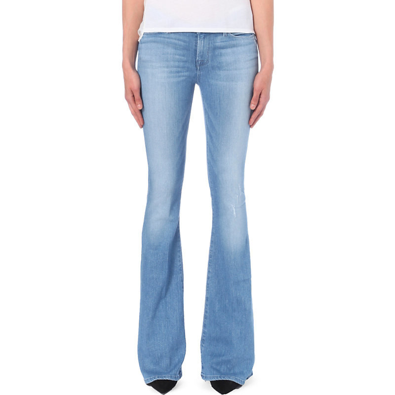 Mia Flared Mid Rise Jeans, Women's, Drift - style: flares; length: standard; pattern: plain; pocket detail: traditional 5 pocket; waist: mid/regular rise; predominant colour: pale blue; occasions: casual; fibres: cotton - stretch; jeans detail: whiskering; texture group: denim; pattern type: fabric; wardrobe: basic; season: a/w 2016