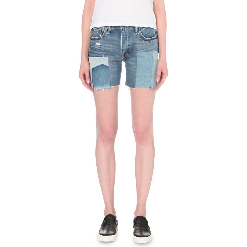 505 C Patchwork Slim Fit Mid Rise Denim Shorts, Women's, Rockaway Indigo - waist: low rise; pocket detail: traditional 5 pocket; predominant colour: denim; occasions: casual, holiday; fibres: cotton - stretch; texture group: denim; pattern type: fabric; pattern: colourblock; pattern size: standard (bottom); style: shorts; length: mid thigh shorts; fit: slim leg; season: a/w 2016; wardrobe: holiday