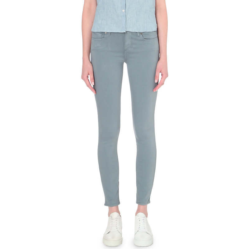 Verdugo Ankle Skinny Mid Rise Jeans, Women's, Trooper - style: skinny leg; length: standard; pattern: plain; pocket detail: traditional 5 pocket; waist: mid/regular rise; predominant colour: light grey; occasions: casual; fibres: cotton - stretch; texture group: denim; pattern type: fabric; season: a/w 2016; wardrobe: highlight