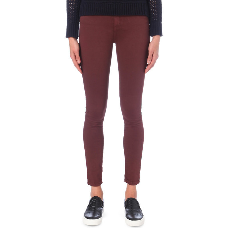 Asa Skinny Mid Rise Jeans, Women's, Maroon - style: skinny leg; length: standard; pattern: plain; pocket detail: traditional 5 pocket; waist: mid/regular rise; predominant colour: burgundy; occasions: casual; fibres: cotton - stretch; texture group: denim; pattern type: fabric; season: a/w 2016
