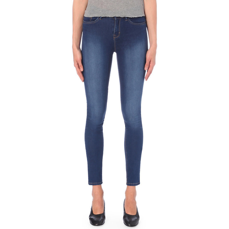 Asa Skinny Mid Rise Jeans, Women's, Blue - style: skinny leg; length: standard; pattern: plain; pocket detail: traditional 5 pocket; waist: mid/regular rise; predominant colour: denim; occasions: casual; fibres: cotton - stretch; jeans detail: shading down centre of thigh; texture group: denim; pattern type: fabric; wardrobe: basic; season: a/w 2016