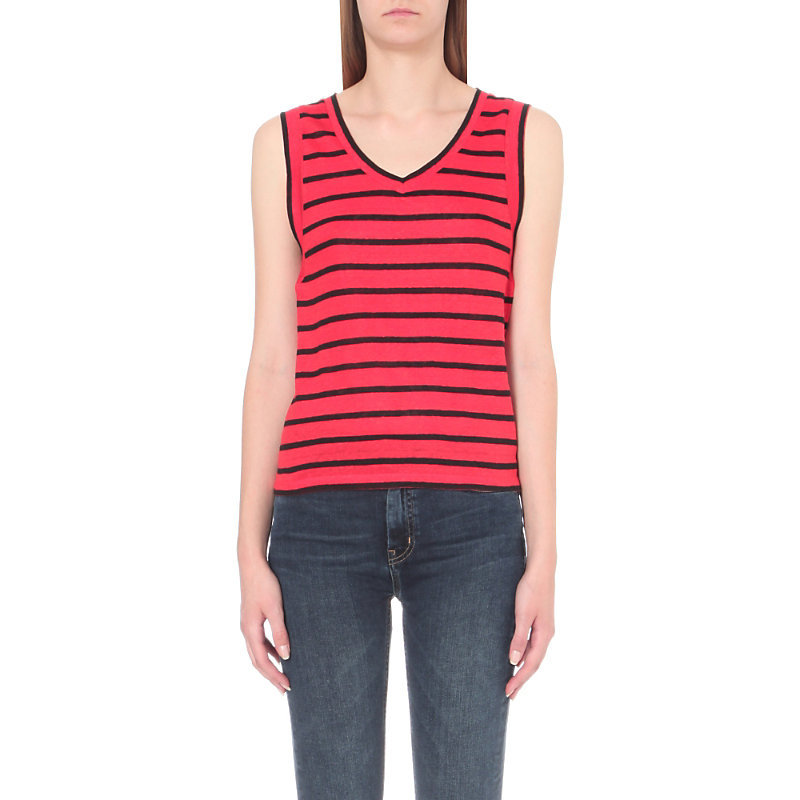 Tenor Striped Linen Top, Women's, Size: Small, Red - neckline: v-neck; pattern: horizontal stripes; sleeve style: sleeveless; style: vest top; secondary colour: navy; occasions: casual, creative work; length: standard; fibres: linen - 100%; fit: straight cut; sleeve length: sleeveless; texture group: knits/crochet; pattern type: knitted - fine stitch; pattern size: standard; predominant colour: raspberry; season: a/w 2016; wardrobe: highlight