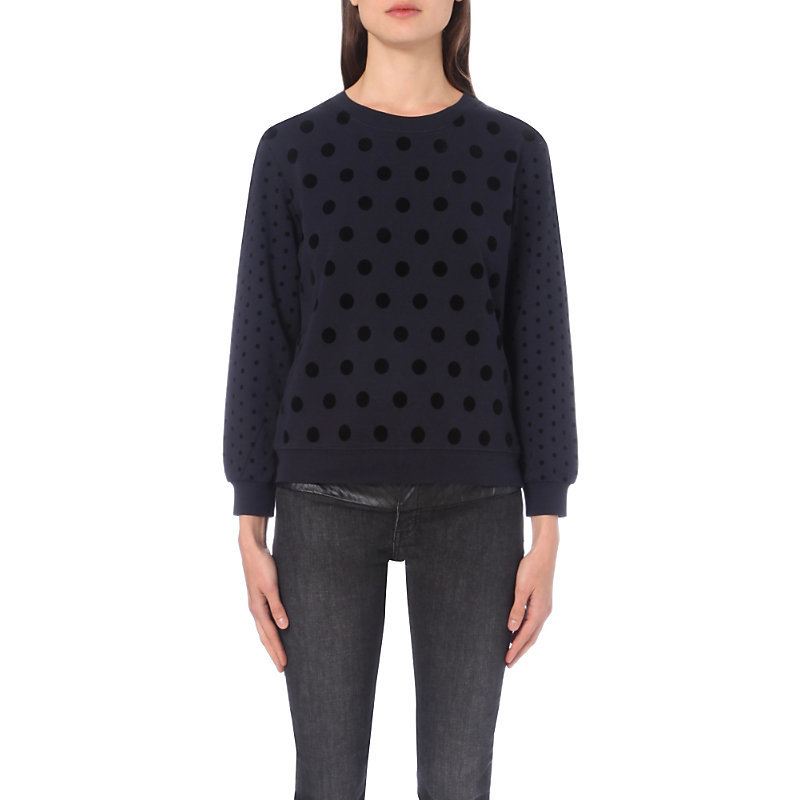 Tourbillon Cotton Jersey Jumper, Women's, Size: Small, Dark Blue/Gold - neckline: round neck; pattern: polka dot; style: standard; predominant colour: navy; occasions: casual, creative work; length: standard; fibres: cotton - 100%; fit: standard fit; sleeve length: long sleeve; sleeve style: standard; texture group: knits/crochet; pattern type: knitted - fine stitch; pattern size: big & busy (top); season: a/w 2016; wardrobe: highlight
