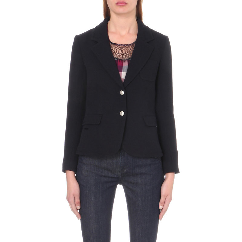 Vision Crepe Jacket, Women's, Dark Blue/Gold - pattern: plain; style: single breasted blazer; collar: standard lapel/rever collar; predominant colour: navy; secondary colour: gold; occasions: work; length: standard; fit: tailored/fitted; fibres: wool - mix; sleeve length: long sleeve; sleeve style: standard; collar break: medium; pattern type: fabric; texture group: other - light to midweight; wardrobe: investment; season: a/w 2016