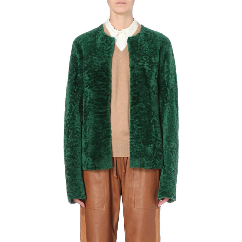 Frank Crushed Velvet Coat, Women's, 401 Emerald - pattern: plain; length: standard; collar: round collar/collarless; fit: loose; predominant colour: emerald green; occasions: casual; fibres: sheepskin - 100%; style: fur coat; sleeve length: long sleeve; sleeve style: standard; collar break: high; pattern type: fabric; texture group: velvet/fabrics with pile; season: a/w 2016
