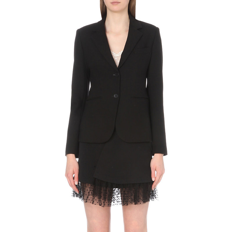 Valdi Stretch Crepe Jacket, Women's, Black - pattern: plain; style: single breasted blazer; collar: standard lapel/rever collar; predominant colour: black; occasions: work; length: standard; fit: tailored/fitted; fibres: polyester/polyamide - 100%; sleeve length: long sleeve; sleeve style: standard; texture group: crepes; collar break: medium; pattern type: fabric; wardrobe: investment; season: a/w 2016