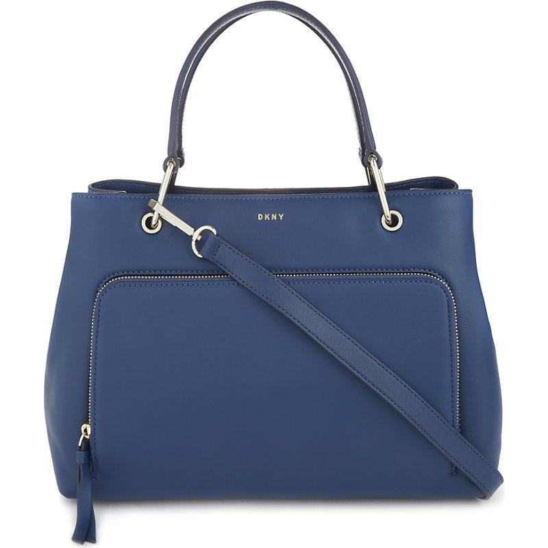 Greenwich Medium Leather Satchel, Women's, Dark Grey/Blue - predominant colour: denim; occasions: casual, work, creative work; type of pattern: standard; style: tote; length: handle; size: standard; material: leather; pattern: plain; finish: plain; season: a/w 2016; wardrobe: highlight