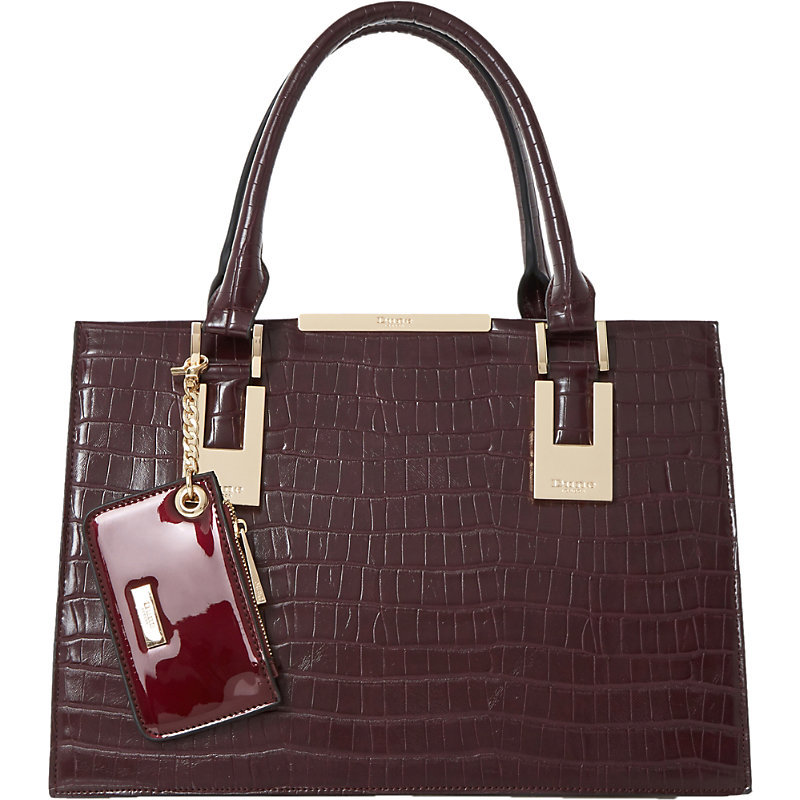 Deedee Faux Leather Tote, Women's, Maroon - predominant colour: aubergine; occasions: casual, work, creative work; type of pattern: standard; style: tote; length: handle; size: standard; material: faux leather; pattern: plain; finish: patent; season: a/w 2016; wardrobe: highlight