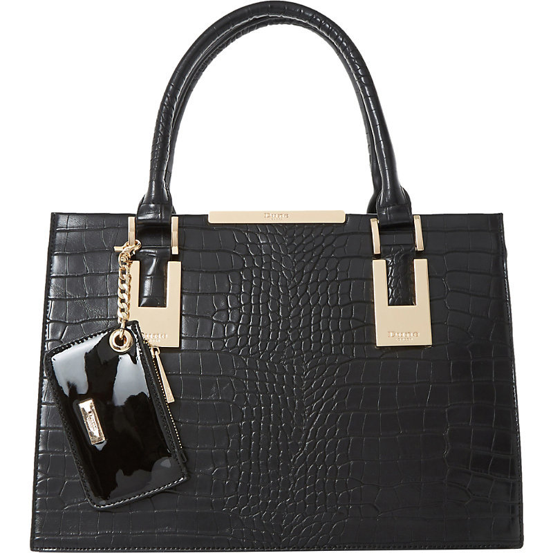 Deedee Faux Leather Tote, Women's, Black Croc - predominant colour: black; occasions: casual, work, creative work; type of pattern: standard; style: tote; length: handle; size: standard; material: faux leather; pattern: animal print; finish: plain; season: a/w 2016; wardrobe: highlight