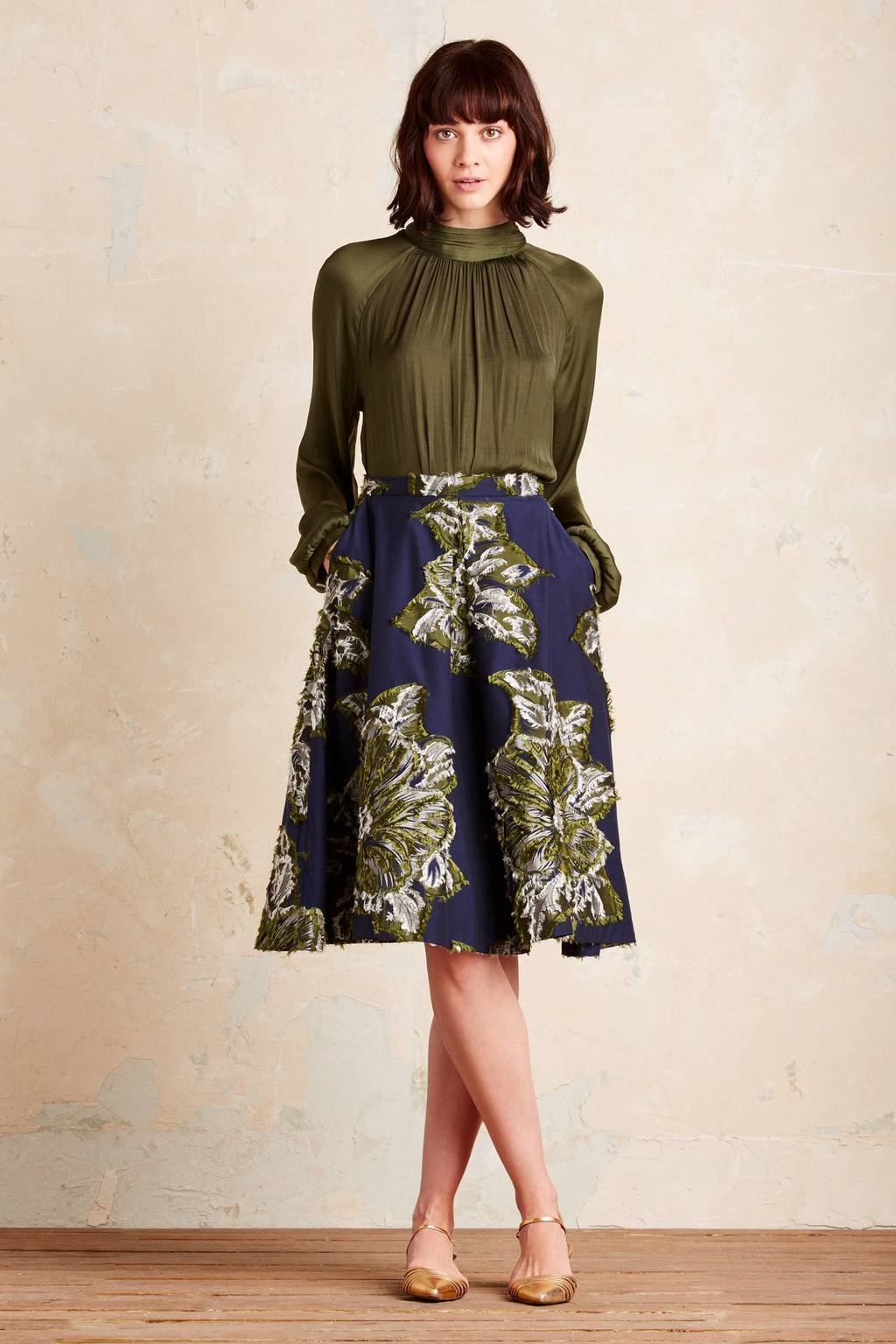 Avalyn Floral Skirt, Navy - style: full/prom skirt; fit: loose/voluminous; waist: mid/regular rise; predominant colour: navy; secondary colour: light grey; occasions: evening; length: on the knee; fibres: cotton - mix; texture group: cotton feel fabrics; pattern type: fabric; pattern: florals; pattern size: big & busy (bottom); multicoloured: multicoloured; season: a/w 2016