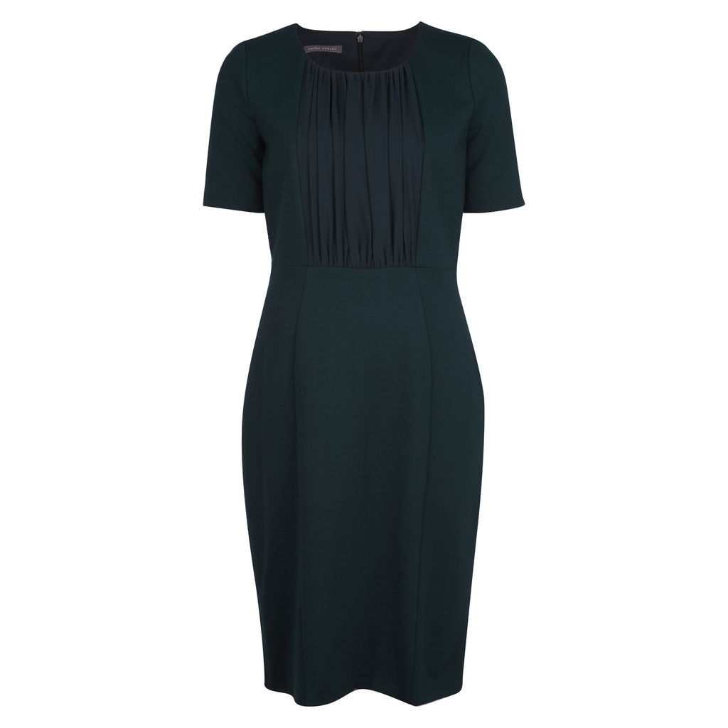 Pleat Woven Front Ponte Dress - style: shift; pattern: plain; predominant colour: navy; occasions: evening; length: on the knee; fit: body skimming; fibres: polyester/polyamide - 100%; neckline: crew; sleeve length: short sleeve; sleeve style: standard; texture group: crepes; pattern type: fabric; season: a/w 2016; wardrobe: event